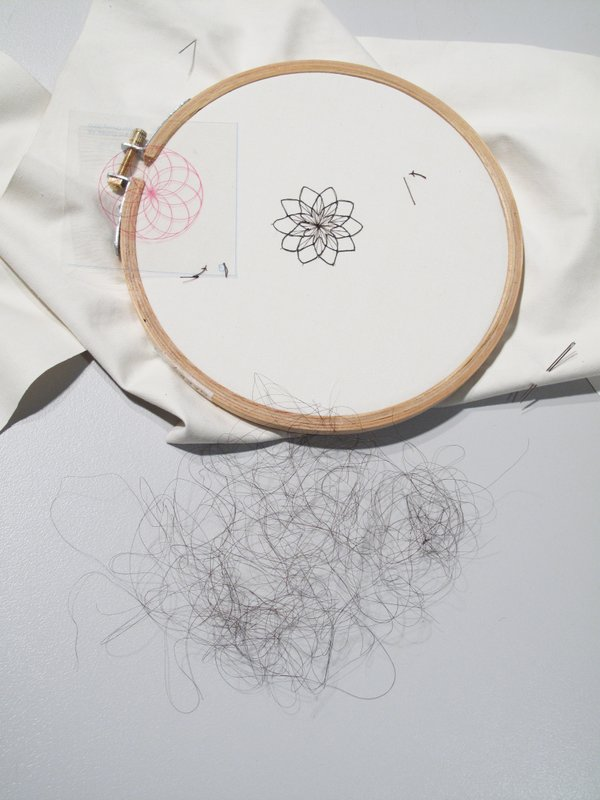 Completed chrysanthemum embroidery.